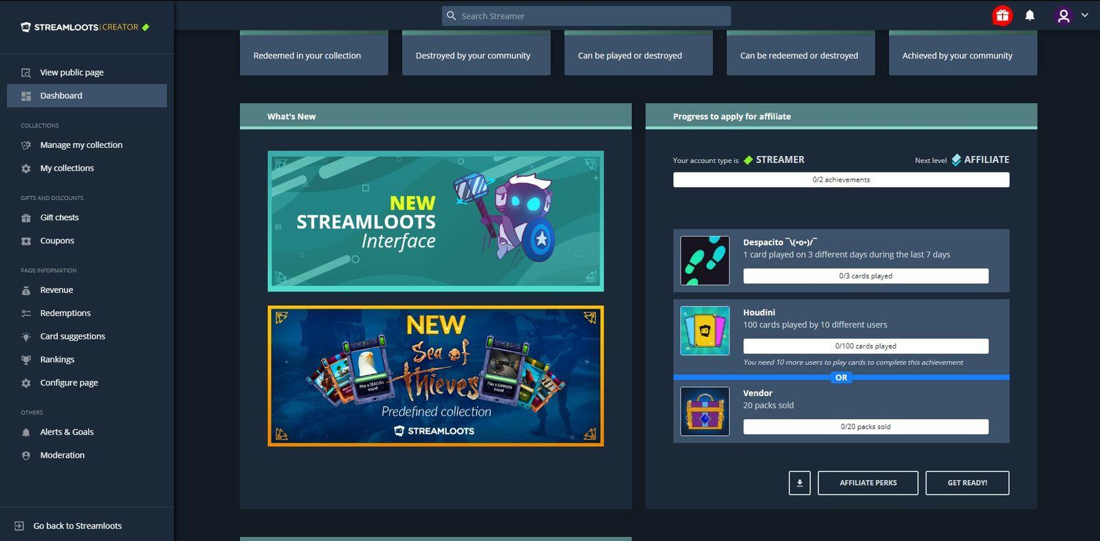 How streamer's account dashboard looks like