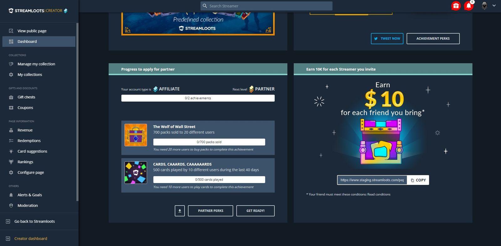 How affiliate's account dashboard looks like