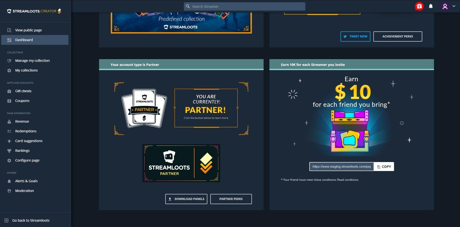 How a partner's account dashboard looks like